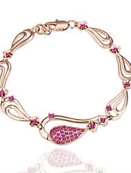 Sweet Novel Women's Flower Rose Red Rhinestones Rose Gold Plated Tin Alloy Chain & Link Bracelet(Rose Gold)(1Pc)