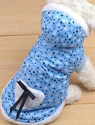 Dog Coat Blue / Pink Winter Polka Dots / Bowknot