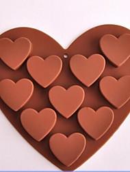 10 buracos moldes forma de coração de chocolate, silicone 15,6 × 14 × 2,4 centímetros (6,1 × 5,5 × 1,0 polegadas)