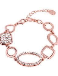 Generous Simple Women's Geometric Figure Rhinestones Rose Gold Plated Tin Alloy Chain & Link Bracelet(Rose Gold)(1Pc)