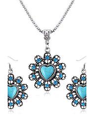 amare zaffiro collana diamante fiore set orecchino