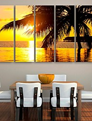 E-HOME® Stretched Canvas Art The Coast Decoration Painting  Set of 5