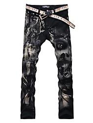 Men's Slim Black Butterfly Beauty Print Jeans Denim Pants