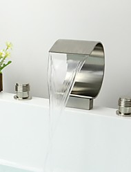 Contemporary Widespread Waterfall with  Ceramic Valve Two Handles Three Holes for  Nickel Brushed , Bathroom Sink Faucet