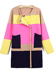 Women's Color Matching Grid in Long Knitting Cardigan Sweater Coat