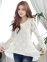 Women's Lace White T-shirt , Round Neck Long Sleeve