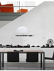 stickers muraux, stickers muraux de style ville silhouette pvc stickers muraux
