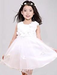 Girl's Solid Dress,Polyester / Mesh Summer / Fall White