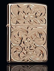 Zorro Gold Carved Rich Flowers Metal Copper Shell Oil Lighter Style Random