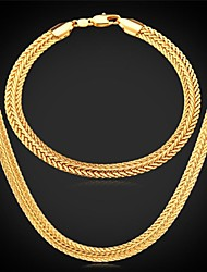 U7® Foxtail Chain Necklace Bracelet 18K Real Gold Plated Vintage Chunky Necklace Bracelet Fashion Jewelry Set