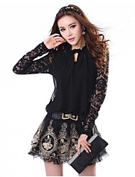 Women's Lace Black Dress , Casual Halter Long Sleeve