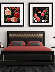 E-HOME® Framed Canvas Art,Flower Framed Canvas Print Set of 2