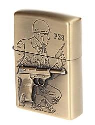 World A Gun P38 Semi Automatic Pistol Engraved Brass Copper Zinc Alloy Lighter(Bronze)