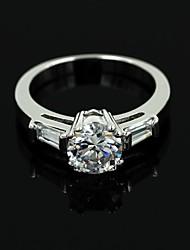 Silver Alloy Rhinestone Wedding Rings For Women
