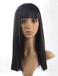 peruca comprimento médio de alta qualidade da mulher sem tampa com estrondo completa