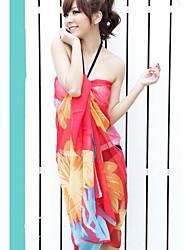 de moda multi chiffon impressão envoltório lenço sarong biquíni swimwear swimsuit praia cover-up das mulheres