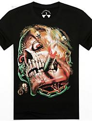 Männer Oansatz Sommer Skelett 3D gedruckt Kurzarm-T-Shirt