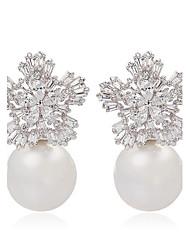 senhoras jóias trendy neve flor bonito e brincos de pérola brincos elegantes floco forma cz do parafuso prisioneiro para as mulheres