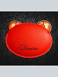 Personalized Gift Animal Shape Stainless Steel Compact Mirror with Engraved PU Leather Cover