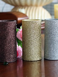 Home Impressions™ 3x6 Inch Battery Operated Flameless Real Wax Led Pillar Candle with Timer with Glitter Powder