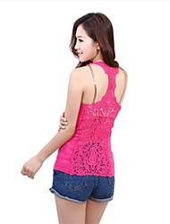 Women's Pink/Red/White/Black/Gray Shirt Sleeveless Lace