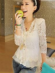 Women's Lace White V Neck Long Sleeve Lace