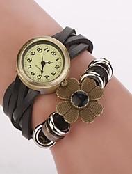 бронзовый циферблат цветок группа искусственная кожа кварцевые наручные часы женские (ассорти цветов) с&d331