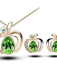 collana pendente di cristallo anziano amore apple&insieme dei monili orecchini (verde, blu)