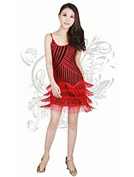 Latin Dance Women's Strap Stripe Tassel Performance Dress(More Colors)