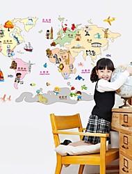 stickers muraux stickers muraux, les enfants des dessins animés comme la carte du monde pvc stickers muraux