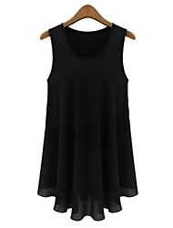 Women's Casual/Daily Simple Spring / Summer / Fall Blouse,Solid Round Neck Sleeveless Beige / Black Polyester Thin