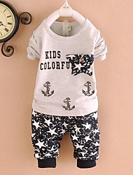 impressão de moda do menino de conjuntos de roupas de algodão