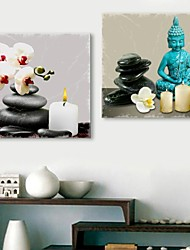 e-Home® allungata tela arte Buddha e pietre decorative set pittura di 2