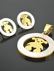 Toonykelly Honey Natural Shell Animal Stainless Steel(Pendant with Earring Stud)Jewelry Set