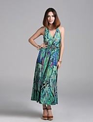 Women's Animal Dress , Casual/Print Halter Sleeveless