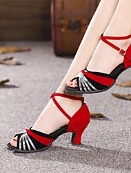 Chaussures de danse (Argent/Or) - Non personnalisable - Talon Large - Suédé/Paillette - Danse latine