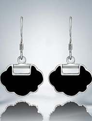 Fashion Black Clock Silver Plated Alloy Drop Earrings(1 Pair)