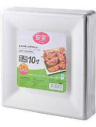 forma quadrada de papel degradável e descartáveis pratos, 50pcs / bag