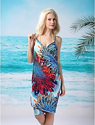 modo delle donne sexy fuochi d'artificio blu profondo-v swimsuit swimwear beachdress bikini cover-up