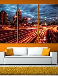 E-HOME® Stretched LED Canvas Print Art City Night Scene Flash Effect LED Flashing Optical Fiber Print Set of 3