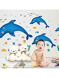 Wall Stickers Wall Decals, Style Cartoon Dolphin PVC Wall Stickers