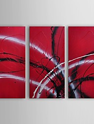 Oil Painting Modern Abstract Guitar Hear Set of 3 Hand Painted Canvas with Stretched Frame