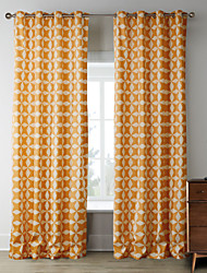 (Two Panels) Iterative Orange Stars Pattern Curtain