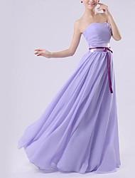 Floor-length Chiffon Bridesmaid Dress - Royal Blue / White / Watermelon / Beige / Purple / Ruby A-line Sweetheart