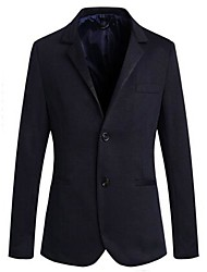 Men's Long Sleeve Casual Jacket,PU Solid Black / Blue / Gray