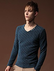 Men's  Pure Color V-neck Leisure Long-Sleeved T-shirt