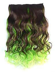 18-Zoll-Frauen Clipkörper wellige dunkelbraun grün mixcolor Haarteile synthetische Erweiterungen