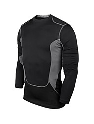 Men's PRO Tight Gym Running Sports Training Fitness Quick-dry Long Sleeves T-shirt  (Black)