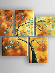 Oil Painting Modern  Abstract Tree Set of 5 Hand Painted Canvas with Stretched Framed