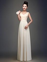 Floor-length Chiffon Bridesmaid Dress - Champagne A-line V-neck